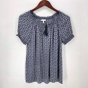 Joie Blue Masha Medallion Print Silk Blouse Size S